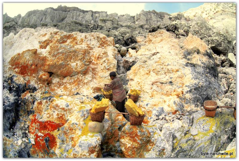Miejsce wydobywania siarki, Kavah ijen